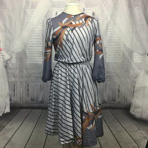 Vintage Gray Striped Dress Long Sleeve Midi 12P
